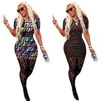 mini camisa sexy venda por atacado-F Carta Impressão T-shirt Vestido Mulheres Verão Mangas Curtas Rodada o pescoço impressão Vestidos Mulheres Esportes Apertado Sexy bodycon Saia LJJA2297