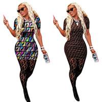 robe t-shirt imprimé achat en gros de-F Lettre Impression T-shirt Dress Femmes D'été À Manches Courtes Rond o cou Imprimer Robes Femmes Sports Serré Sexy Moulante Jupe LJJA2297