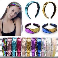 parlak çubuk toptan satış-Kızlar Çift taraflı Pul Kafa Moda Parlak Saç Sopa Renk Değişikliği Sequins Tasarımcı Kafa Bandı Kadın Çocuk Saç Aksesuarları HHA637