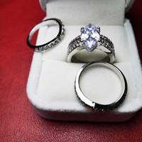 gümüş elmas taklidi toptan satış-3 parçalı Stackable Yüzük Kadınlar Güzel Takı 925 Gümüş İmitasyon elmas yüzük düğün Boyutu 6-10 Üst tasarımcı kaliteli için ayarlar