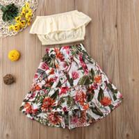 sevimli çiçekli etekler toptan satış-Sevimli 2 Adet Çocuk Bebek Kız giysi tasarımcısı set Ruffled Sarılmış Göğüs + Çiçek Etek Kıyafetler Yaz giysileri