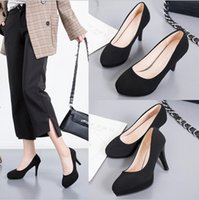Wholesale ol high heel for sale - Group buy New Black Wild Single Shoes Suede High Heels Round Head Waterproof Platform Stiletto Professional OL Designer Interview Shoe