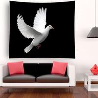 palomas volando al por mayor-Palomas voladoras Palomas Fondo negro Patrón de libertad Poliéster Decoración para colgar en la pared Tapiz Manta de yoga Indian Beach Shawl Towel