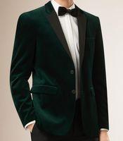 темно-зеленый пиджак оптовых-2019 Men Dark Green Velvet  Suit Jacket Men Slim Fit Tailored Made Blazer Jacket Vestido Outwear Coat