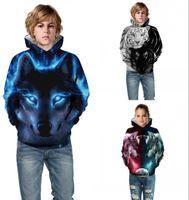 teen jungen kleidung großhandel-Kinder Hoodies Jungen Mädchen Kleidung Wolf Tiger 3D Print Cartoon Kinder Sweatshirt Tasche Pullover Enfant Teen Mit Kapuze
