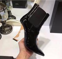 botas de charol negro señaló al por mayor-2019 Primavera Otoño Negro Patentes de boda de novia Zapatos de novia para la novia Lujo Punta estrecha Letras Tacones altos Bombas Señoras Botas Diseñador