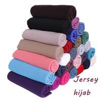Wholesale plain jersey scarfs resale online - high quality jersey hijab shawls scarf cotton plain muslim long headscarf stretchy maxi head wrap scarves scarf color