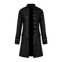 çiçek palto toptan satış-2019 Bahar Gotik Steampunk Ceket Erkekler Vintage Çiçekli Kabanlar Coat Vintage Rüzgarlık Düğme Erkek Palto Artı Boyutu Giysileri