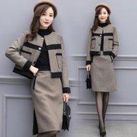 yarım kat kıyafeti toptan satış-2 Adet Set Kadınlar 2019 Yeni Kadın Sonbahar / Kış İki Parçalı Set Yün Coat Yarım Etek Günlük Moda Suit