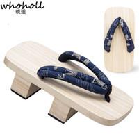 sandálias geta venda por atacado-Whoholl 2019 sandálias de verão tamancos japoneses homens geta dois dentes de estilo japonês chinelos de madeira chinelos dragão impressão masculino geta