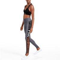 seksi sıska ince tozluk baskısı toptan satış-NORMOV 2019 Yeni Kadın Mektuplar Baskı Spor Tayt Yüksek Bel Seksi Hollow Elastik Egzersiz Sıska Ince Pantolon Tayt