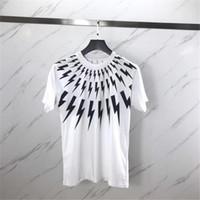 camiseta unisex venda por atacado-Luxo Verão T Shirt Collar Relâmpago Branco Impressão de Manga Curta Designer Camisas Das Mulheres Dos Homens T Camisas Unisex Tees