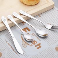 Wholesale kids knife fork sets resale online - Stainless Steel Teaspoon Spoon Fork Knife Baby Kids Learning Eating Habit Utensils Set Durable Children Tableware set