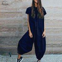 artı bayanlar için tulumlar toptan satış-Katı Tulum Uzun Tulumlar Kadınlar Uzun Pantolon Günlük tulumları combinaison Femme Şık Macacao Bayanlar Mono Plus Size