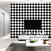 papel de parede quadrado 3d venda por atacado-Personalizado 3d moda minimalismo papel de parede preto e branco quadrados combinação papel de parede moderna sala de estar decoração do quarto