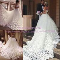 Wholesale butterfly bride dresses online - Plus Size Ball Gown Wedding Dresses Court Train D Floral Appliques Butterfly Bridal Gowns Tulle Sweetheart Neck A Line Bride Dresses