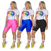 Wholesale women yoga wear pants for sale - Group buy 2019 new short sleeve color mouth lip tee top skinny knee length pants suit set active wear tracksuit outfit color