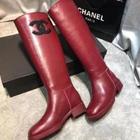 botas de muslo talla 35 al por mayor-Zapatos de mujer botas de Martin botas de cuero de vaca largas de lujo sobre la rodilla de alta del muslo mujer de arranque zapatos de moda de alta rodilla botas Tamaño 35-41 US5-US10