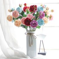 ingrosso testa di fiore artificiale rosa-YO CHO 2 teste grandi peonie fiori artificiali peonie di seta bouquet fiori finti home decor bianco rosa decorazione della festa nuziale