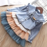 Wholesale spring flowers cake for sale - Group buy Spring kids flower Bow brooch Ruffled collar flare sleeve denim shirt patchwork color lace tulle cake skirt sets girls outfits C6140
