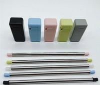 ingrosso portaoggetti in acciaio inox-Cannucce pieghevoli pieghevoli riutilizzabili in acciaio inox riutilizzabile multi colore con supporto per custodia rigida disponibile