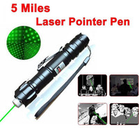 Wholesale mile green laser pointer for sale - Group buy 2 in miles Miles nm Green Laser Pointer Strong Pen high power powerful M pointer w Pen Clip w Retail Box Battery Charger