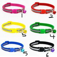 Wholesale make dog collars resale online - Pet Dog Cat Nylon Collar Reflect Light with Bell Adjustable Makes Your Dog Safe Seen