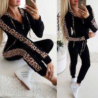 sudadera con estampado de leopardo xl al por mayor-Otoño Invierno Moda Mujeres chándal de empalme Fleece Leopard abrigo con capucha Dos jugadas sudaderas largas traje de pantalones Imprimir