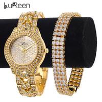 conjunto de pulseira de quartzo venda por atacado-Lureen Hip Hop Iced Out Ouro Relógio De Quartzo Para Os Homens 3 linha de Tênis Cubic Zircon Pulseira Relógio De Luxo Conjunto Presente Da Jóia W0021