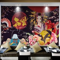 mural sakura venda por atacado-Retro Mural gueixa japonesa Wallpaper Sakura Personalizado 3D Wallpaper Sushi restaurantes Shop TV parede pano de fundo Quarto Art Decor Estúdio