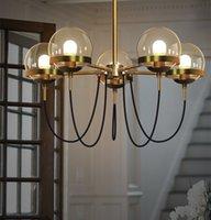cognac moderno al por mayor-5 Jefes nórdica Modern American Cafe Restaurante retro LED lámpara colgante coñac Bola de cristal de casa habitación Deco accesorios ligeros