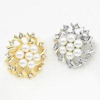 Wholesale mexican costume party for sale - Vintage Silver Tone Explosion Faux Pearl Crystal Flower Pin Brooch Wedding Costume Broach Vintage Imitation Pearl Flower Bridal Bouquet Pin