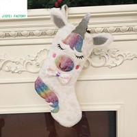 Wholesale chrismas socks resale online - Chrismas Large Unicorn Socks Gift Bags Candy Bag Cloth Xmas Tree Ornament Hanging Pendant For Children Chrismas Decoration