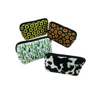 Wholesale sunflower accessories for sale - Group buy Triangle Cow Cosmetic Bag Blanks Neoprene Sunflower Makeup Bag Women Accessories Hand Bag DOM1061244