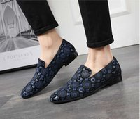 Wholesale pointed fashion men s shoes resale online - Fashion Men dressing s leather Loafers pointed toe Men formal Business Dress shoes Slip on Men wedding shoes