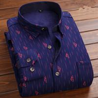 mens rahat ipek gömlek toptan satış-22 Stiller Erkek Gömlek Sıcak Süt İpek Artı Kadife Baskı Elbise Gömlek Casual Comfort Uzun Kollu Gömlek Giyim camisa masculina ABD Boyutu