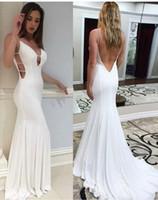 df5376d466a32 Seksi Kadınlar Spandex Sıkı Mermaid Uzun Beyaz Backless Abiye Robe De  Soiree Kat Uzunluk Yuvarlak Boyun Balo elbise Vestido De Festa