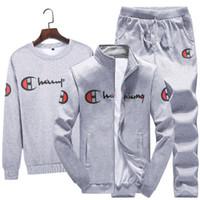 erkekler için yeni stiller toptan satış-Yeni stil 3 Parça Setleri (Ceket + Pantolon + hoodies) Eşofman Erkekler Spor Marka-Giyim Rahat Eşofman Erkekler chándal hombre Ince Eşofman