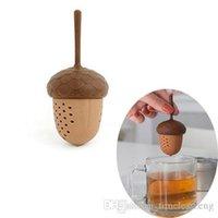 bolsa de ardilla al por mayor-Difusor la forma de hoja de silicona ardilla bellota de Infuser del té flojo Piñones la bolsita de té de hierbas filtro colador