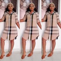 freizeitkleidung bekleidung großhandel-Womens Sommer Designer Shirt Kleider Plaid Streifen Revers Hals Langarm weibliche Kleidung OL Style Fashion Casual Apparel