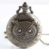colar de relógio de coruja de quartzo venda por atacado-Tamanho grande do vintage coruja bronze quartzo relógios de bolso analógico pingente de colar fob watch men mulheres presentes