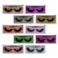 renkli gözler toptan satış-3D Vizon Kirpik Göz Makyaj Vizon Yanlış Lashes Yumuşak Doğal Kalın Kirpikler Göz Lashes Uzatma Güzellik Araçları Ile Renkli Kart GGA2028