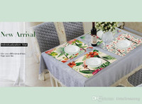 Wholesale wood rectangle table resale online - Animal Series Placemat Flamingo Banana Tree Printed Table Pads Cotton Linen Table Mats Size cm
