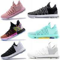 zapatos kd medio negro al por mayor-Zapatillas deportivas baratas 2019 Kevin Durant Drak, zapatos de baloncesto juveniles grises KD 10 x mid Hyper Turquoise BHM historia negra mes entrenadores para hombres