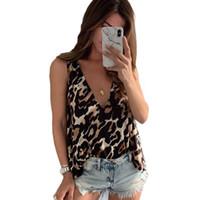 leoparddruckwestefrauen großhandel-Frauen leopard print mode tank tops Ärmellos Tiefem V-ausschnitt Heißer sommer casual Club Shirt weste weibliche kleidung XXL New Vintage