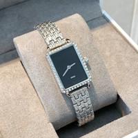 retângulo relógio de pulso venda por atacado-2019 Retângulo mulheres luxo mostrador do relógio feminino Rhinestone quartzo senhora pulseira de relógio de pulso diamante cinta de aço ocasional vestido simples relógio