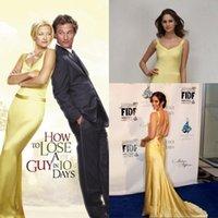 filmes chocolate venda por atacado-Kate Hudson amarelo ouro celebridade vestidos em como perder um cara em 10 dias em filmes vestidos de festa de celebridades