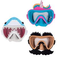ver gafas al por mayor-Gafas para niños Súper - Campo de visión ligero Natación Artefacto Dibujos animados antiniebla Gafas Máscara de buceo de silicona duradera Gafas
