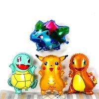 pequeños animales lindos al por mayor-18 pulgadas Pikachu Jenny Turtle Miao Frog Seed Pequeño Fire Dragon Globo de aluminio Animal lindo globo de aire 4 estilos de selecciones Niños mejor regalo L174