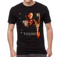 ropa titánica al por mayor-Titanic Leonardo DiCaprio Hombres camiseta Ropa Negro 6-A-198 verano de manga corta de la camiseta nueva de la manera 100% algodón